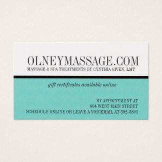 blue massage and spa contact card