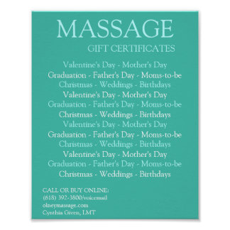 BLUE massage gift certificates Poster
