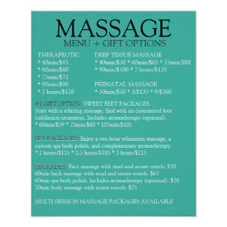 BLUE massage service menu list Poster
