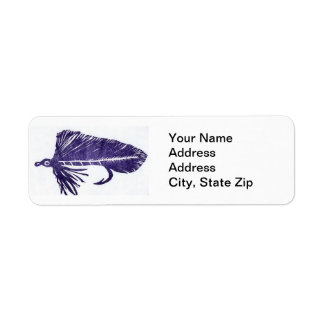 Blue Matuka Trout Fly Return Address Label