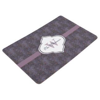 Blue Mauve Rust Lavender Monogram Floor Mat