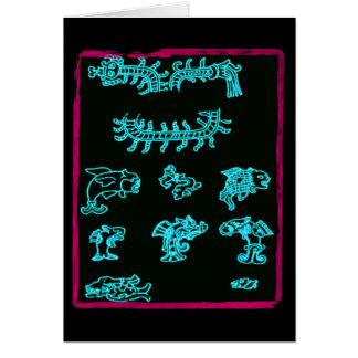 Blue Mayan Animals Card