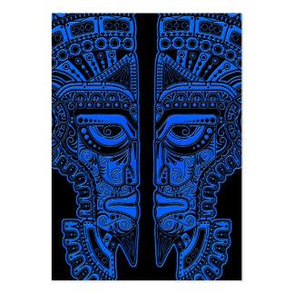 Blue Mayan Twins Mask Illusion on Black Business Card Templates