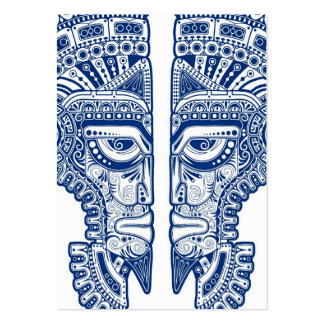 Blue Mayan Twins Mask Illusion on White Business Card Templates