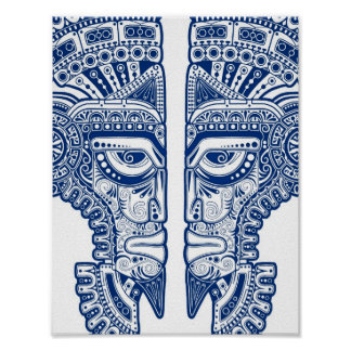 Blue Mayan Twins Mask Illusion on White Poster
