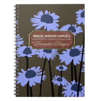 Blue Meadow Blossoms Decor Darker Modern Notebook