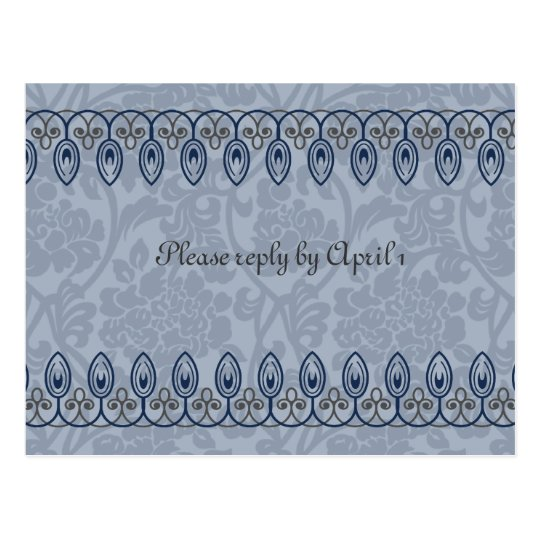 Blue Mediaeval Brocade rsvp Postcard