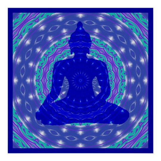 Blue Medicine Buddha with Colourful Mandala Poster