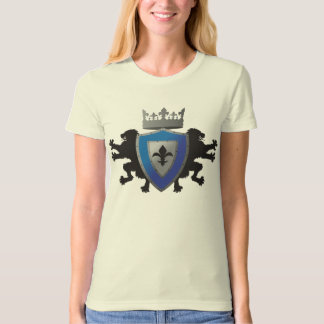 Blue Medieval Lion Heraldry Ladie's Fitted Organic Tee Shirts