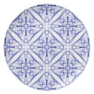 Blue Medieval Tile Plate
