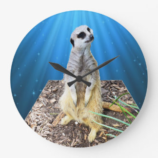 Blue Meerkat Night,_Large Round Wall Clock. Large Clock
