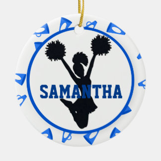 Blue Megaphones and Cheerleader Personalized Christmas Ornament