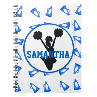 Blue Megaphones and Cheerleader Personalized Notebooks