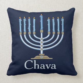 Blue Menorah Personalized Decorative Throw Pillow