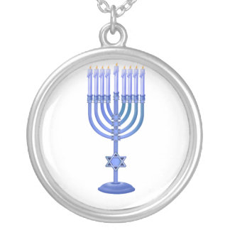 Blue Menorah Silver Plated Necklace