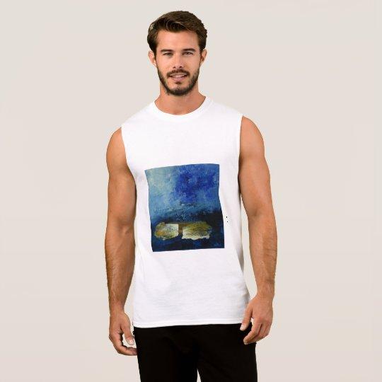 Blue Men's Ultra Cotton Sleeveless T-Shirt, White Sleeveless