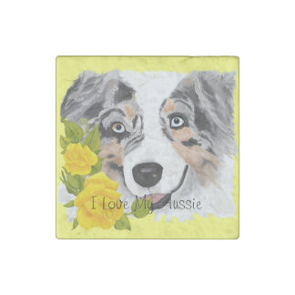 Blue Merle Aussie and Yellow Roses Stone Magnet