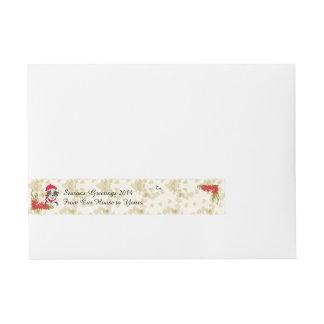 Blue Merle Aussie Christmas Pup w/Poinsetta Wraparound Address Label