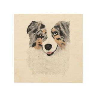 "Blue Merle Aussie Dog 8""x8"" Wood Photo Print Wood Prints"