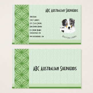 Blue Merle Aussie on Green on Lt Green Business Card