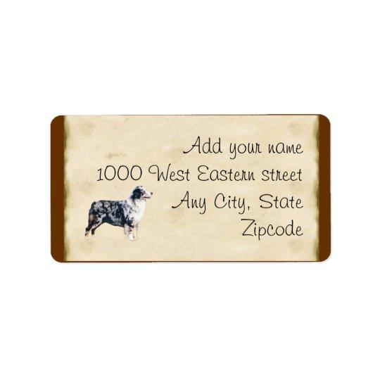 Blue Merle Aussie on Parchment Address Label