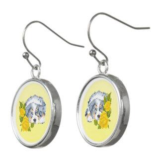 Blue Merle Australian Shepherd and Yellow Roses Earrings