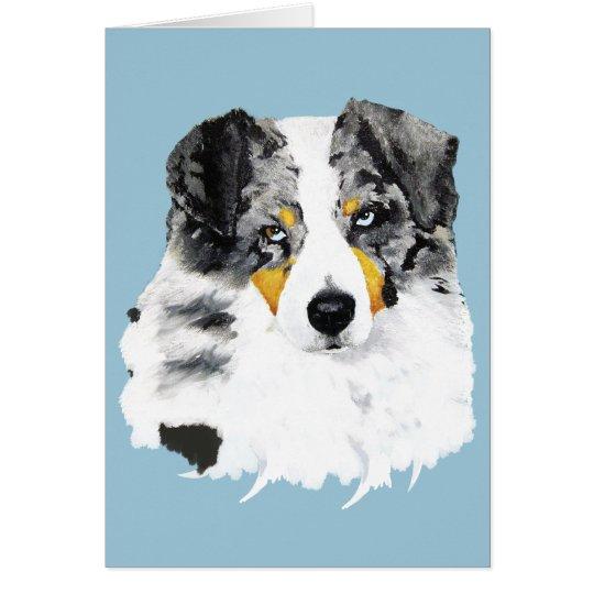 Blue Merle Australian Shepherd Blank Greeting Card