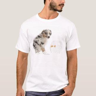 Blue Merle Australian Shepherd puppy looking T-Shirt