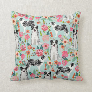 Blue Merle Border Collie Floral Pillow