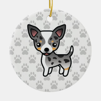 Blue Merle Smooth Coat Chihuahua Cartoon Dog Christmas Ornament