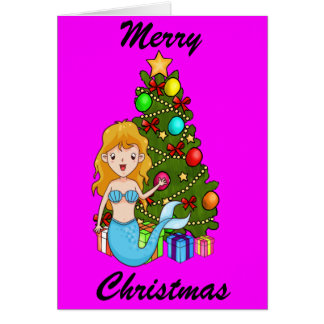 Blue Mermaid and Christmas Tree Note Card