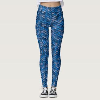Blue Mermaid Scale Print Leggings