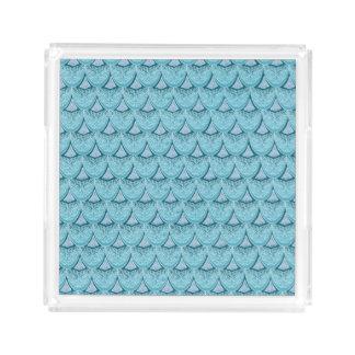 Blue Mermaid scales ,boho,hippie,bohemian Acrylic Tray