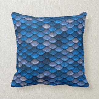 Blue Mermaid Scales Throw Pillow