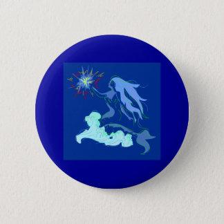 Blue Mermaid Spirit and Stars 6 Cm Round Badge