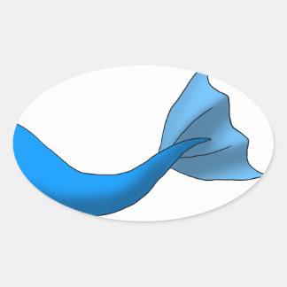 Blue Mermaid Tail Oval Sticker