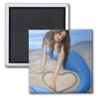 Blue Mermaid's Heart Magnet