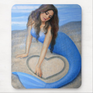 Blue Mermaid's Heart Mouse Mat