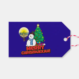 """Blue """"Merry Chrismukkah"""" Gift Tags"""