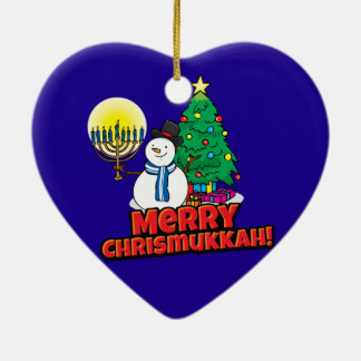 Blue Merry Chrismukkah with Snowman and Menorah Ceramic Heart Decoration