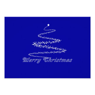 Blue Merry Christmas Invitation Template