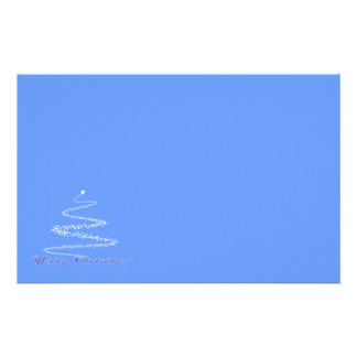 Blue Merry Christmas Stationery