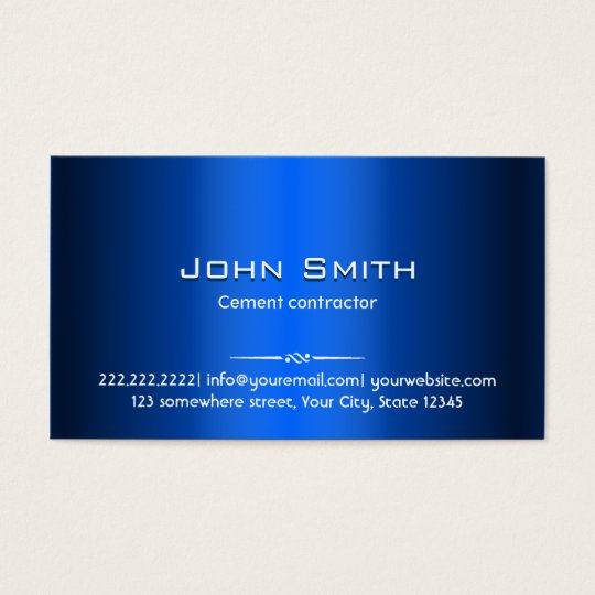 Blue Metal Cement Contractor Business Card