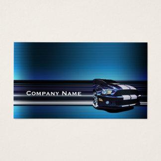 Blue Metal Mustang Car Business Card