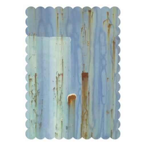 Blue metall Wall Custom Invitations
