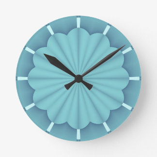 Blue Metallic Abstract Flower Round Clock