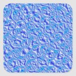 blue metallic bubbles square sticker
