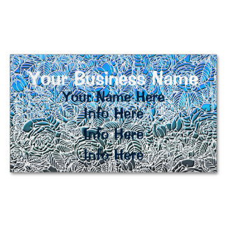 Blue Metallic Fluorescent Flowers Magnetic Business Cards