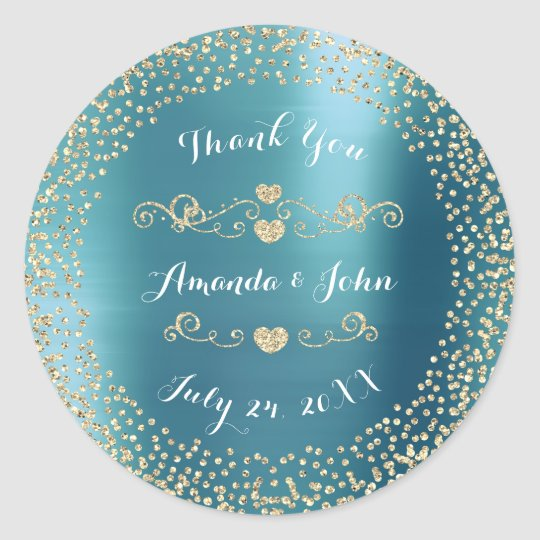 Blue Metallic Glitter Save the Date Thank You