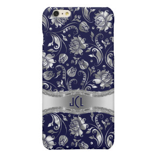 Blue & Metallic Silver Floral Damasks iPhone 6 Plus Case